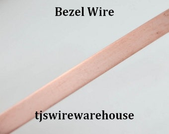"""Copper Bezel Wire, Solid, 24 or 28 ga, 1/8"""" wide, 5 ft. Length"""
