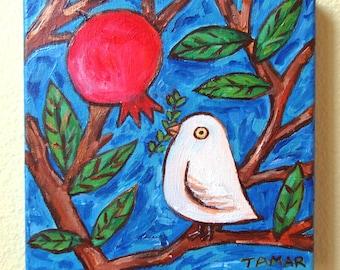 Granatapfelbaum, Granatapfel Kunst, Original-Gemälde, Shalom Kunst, Baby Friedenstaube, 8 X 8-Leinwand, Shalom Kunstwerk, Judaica-Wand-Kunst, Jüdisches Geschenk