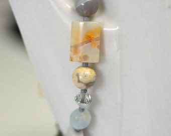"""Ocean Jasper and Aquamarine Bracelet with Natural Gemstones and Pearls  """"Clair de Lune Collection""""  Moonlight"""