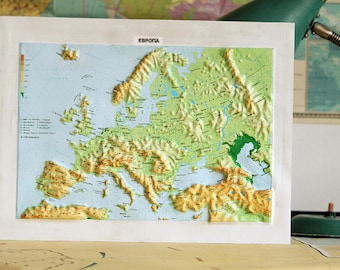 Europe Map - Old Relief Map of Europe - Vintage Map - Map Wall Decor - Colored Map - Vintage School Map - Rare Map - Map Gift
