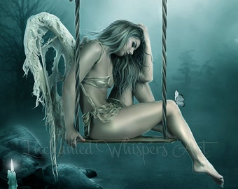 Broken fantasy Angel on swing art ptint