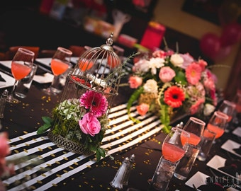 BLACK STRIPED Table Runner With Gold dots- Stripe Napkins, Placemats -Centerpiece Rounds, Squares, with or without gold polka dot, shower