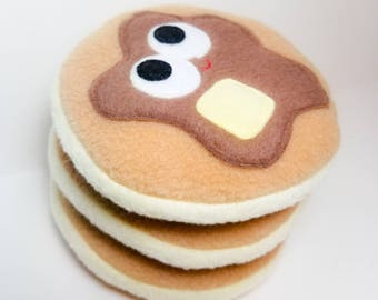 Pancakes - Stack Of Pancakes - Three Pancakes - Plush Food - Stuffed Food - Breakfast Food - Play Food - Made In Canada - Maple Syrup