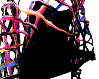 CUSTOM ORDER Felted Scarf, Black Multicolor, Open Work, Net Scarf, Fishnet Design, Merino Wool Felted Lattice Scarf