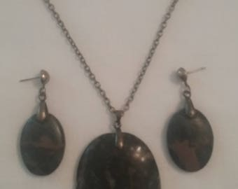 Oval Portoro Marble Necklace & Earrings (#150)