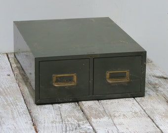 Old Green Metal Industrial Card Catalog File Cabinet Made in USA