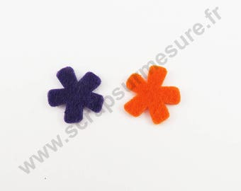 ORANGE felt - Flower VIOLET - 14 pcs x