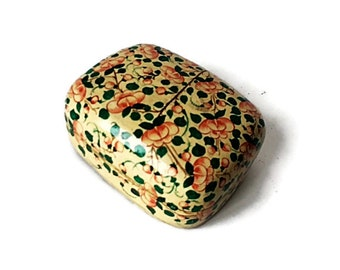 Hand Painted Trinket Box from Kashmir India/ Vintage Papier Mache Lacquer Box