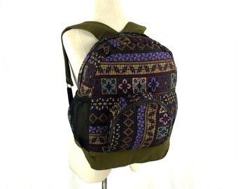 Hippie Backpack - Native inspired, Aztec Canvas Backpack, Teen school backpack, Hipster Boho backpack, Ikat folk backpack, Tribal backpack