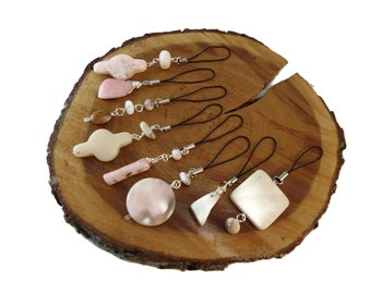 Pastel Stone Bag Charms Silver Plated, Pale Pink Opal Purse Charm for Women, Wire Wrapped Gemstone Zipper Pull Charms for Handbags