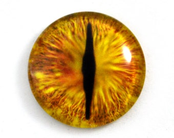 30mm Gold Dragon Glass Eye For Sale for Steampunk Pendant Jewelry Making or Taxidermy Fantasy Doll Eyeball Flatback Circle