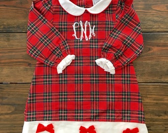Girl Red Tartan Plaid Flannel Gown