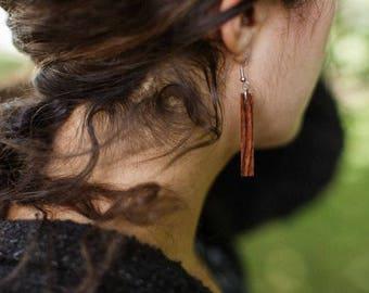 Skinny, medium length, wood dangling earrings, super light weight