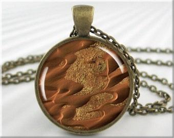Mars Dunes Pendant, Resin Charm, Martian Sand Dunes, Planet Mars Space Gift, Resin Pendant, Round Bronze, Gift Under 20 (719RB)