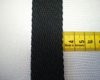 Twill cotton, width 30 mm, black woven strap