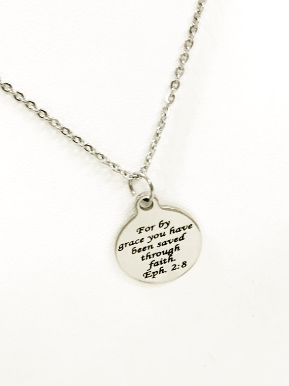 Christian Jewelry, Christian Gifts, Christian Necklace, Bible Verse Jewelry, Saved By Grace Through Faith Jewelry Necklace, Bible Verse Gift