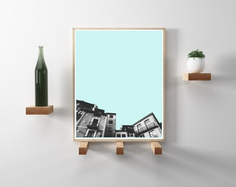 Spanish City Photography. Teal, Black and white, travel photography. Modern, minimal, scandinavian art. Instant Download in 8.5x11 and 20x24