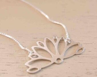 Silver Lotus Necklace - Minimal Silver Necklace - Thin Silver Necklace - Dainty Silver Necklace - Simple Silver Necklace - Delicate Necklace