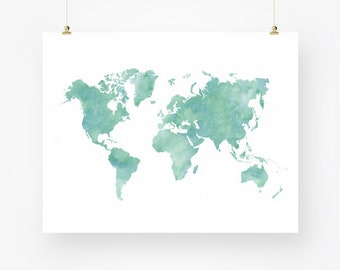 Watercolor world map download colorful large wall art decor watercolor world map download mint green sea foam teal nursery wall art decor poster large printable digital print jpeg instant download pdf gumiabroncs Gallery