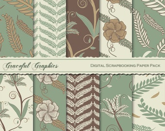Scrapbook Paper Pack Digital Scrapbooking Background Papers FERNS, LEAVES and FLOWERS Green Brown Tan & Off White 10  8.5 x 11 1243gg