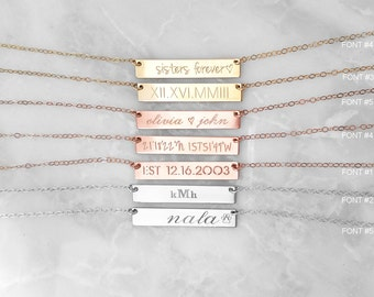 Bar Necklace, Coordinate Necklace, Personalized Necklaces, Custom Name Plate Jewelry, Roman Numeral Date, Bridesmaid Necklace, Gift for Her