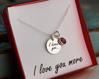 I love you necklace / Sterling Silver necklace with birthstone / Hand stamped