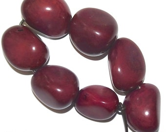 Dark Purple Strand, 7 Tagua Nuts, Vegetable Ivory, EcoBeads, Tagua, Natural, Organic Seeds