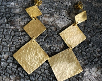 Gold dangle earrings made of gold plated 24k brass - Geometric earrings - Statement jewelry