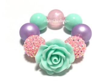 Toddler or Girls Chunky Flower Bracelet - Unicorn Flower Bracelet - Aqua, Pink and Purple Bracelet - Chunky Rose Bracelet - Floral Bracelet