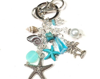 Starfish Keychain, Starfish Bag Charm, Beach Bag Charm, Beach / Sea Lover / Ocean Lover Gift, Tropical / Beach Gifts, Gifts for Her