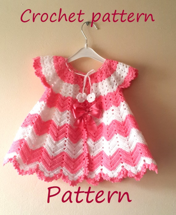 Crochet baby dress pattern first outfit baby shower gift welcome crochet baby dress pattern first outfit baby shower gift welcome baby girl chevron infant crochet dress pattern 0 9 months infant newborn from ccuart Images