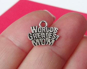"""10, """"World's Greatest Mom"""" Charms 12x14x2mm, Hole: 2mm"""