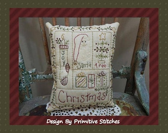 Christmas Sampler--Primitive Stitchery E-PATTERN by Primitive Stitches-Instant Download