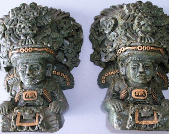 Mayan Design Figural Bookend Pair