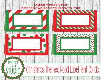 Christmas Seasonal Tent Style Food Table Labels Name Cards - INSTANT DOWNLOAD - Printable Digital File - Christmas Table - Christmas Party