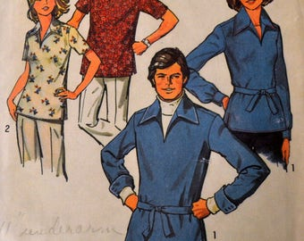 Vintage 1970's  Sewing Pattern Simplicity 6436 Men's Pullover Shirt  Chest 40-42 inches Complete Uncut