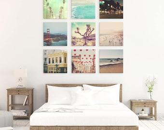 California photo set, gallery wall art, set of 9 photographs, LA San Francisco San Diego beach photography, print collection, gift set