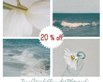 Teal and grey decor, beach bathroom art, photography set of 4 prints 11x14, cottage chic art, floral bath art prints, powder room wall art