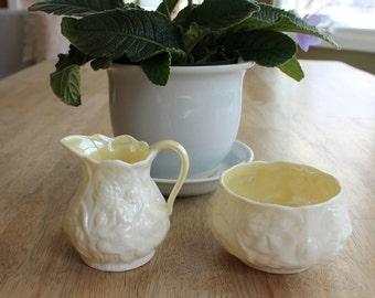 Vintage Belleek Cream and Sugar, Irish Porcelain, Cream and Sugar
