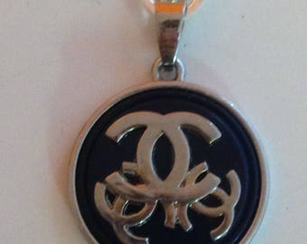 designer button repurposed into necklace, handmade