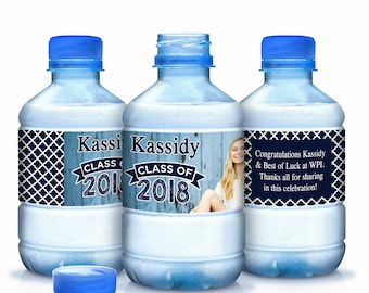 Graduation Water Bottle Labels - Graduate Bottled Water Labels - Custom Water Bottle Labels - Photo Labels - Class of 2018 Graduation