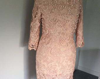 Vintage 90's all over lace fitted dress in pale peach with beading, size 8