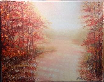 "Sale! Original Impressionism Impasto Oil Painting artwork, オリジナル油彩画 ""Autum Path"" 秋の小道 8"" X 10""(20.3cm x 25.4cm) by Yoko Collin, on canvasキャン"
