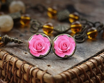 Pink Rose Stud Earrings, Blooming Rose Earrings, Flower Rose Photo Earrings, Pink Rose Jewelry Earrings,