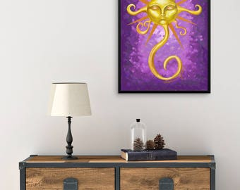 "Painting-Style Illustration ""Glow Sunface"" by Malinee Ganahl.  FRAMED Fine Art Lustre Print.  Yellow sun with face on purple background."