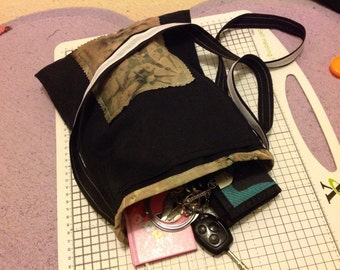 Cross body black and tie died upcycled bag