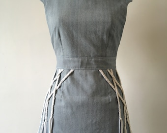 Nautical summer dress, blue and white stripe, lace back detail