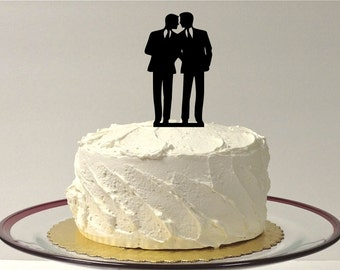 MADE In USA, Gay Wedding Cake Topper Same Sex Cake Topper Gay Cake Topper Gay silhouette Homosexual Wedding Cake Topper For Men Gift