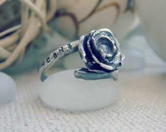 Guard Your Heart Flower Water Cast Sterling Silver Ring