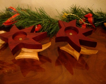 Set of Two Handmade Shooting Star Candle Holders Reclaimed Oak and Asian Cherry Gifts Under 40 Dollars